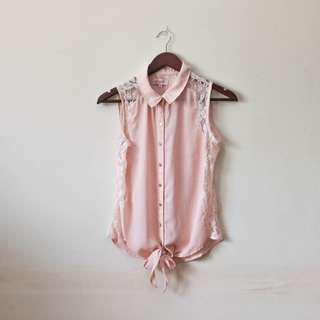 Peach collared button down lace top