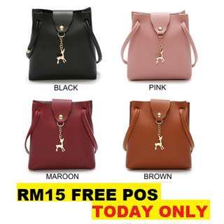 [TODAY ONLY][FREE POS]Korean Style Mini Bucket Sling Bag