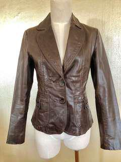 Just jeans 70s vintage look chocolate brown leather jacket