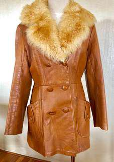 Authentic 70s vintage tan brown leather jacket coat wool collar double breasted