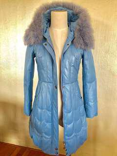 Genuine Leather feather and down puffer coat jacket light blue powder blue real rabbit fur hoodie