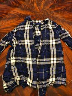 Blue plaid top. Size medium