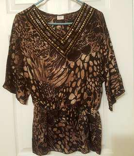 Suzy Shier Top with Gold Detailing - Barely worn!