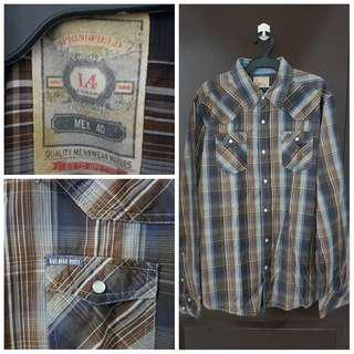 Springfield Brown Plaid Longsleeves Polo