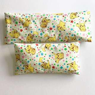 2 sizes Bean Sprout Husk Pillow / Beanie Pillow , Fabric from Japan ( 100% Handmade 100% Cotton , Premium Quality!) 15 x 30cm husks 150grams OR 15 x 40cm husks 200grams Pokémon Pikachu