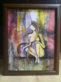 Abstract acrylic paint wd frame included