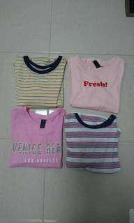 crop ringer tees tshirts size xs fits 6-8