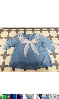 🚚 女童氣質水藍色上衣(適合年齡4歲-5歲) 衣長:40公分