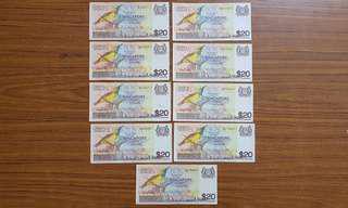 Bird series notes $20 x 9pc