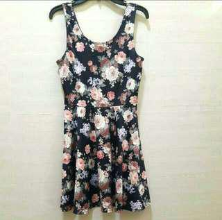 New look dress flower bunga hitam