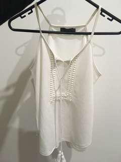White tie up cami