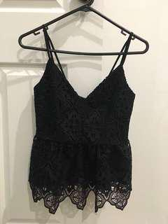 Black lace string top
