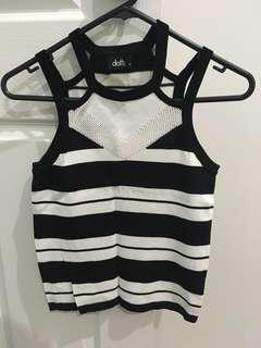 White and black striped knitted sleeveless tee