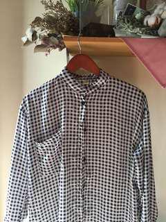 Mandarin collar chiffon black and white checkered button up