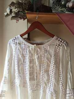 Bohemian crochet off white blouse