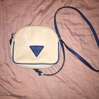 Guess beige and denim blue purse authentic