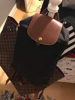 Authentic Longchamp Le Pliage Backpack Black