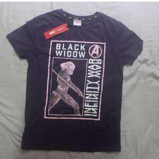 Folded & Hung Marvel Black Widow shirt