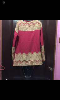 Red blouse lace embroidered