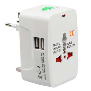 🔥 2 USB 2.1A Universal International World Travel Multi Adapter Plug Fast Charger With/Without USB port