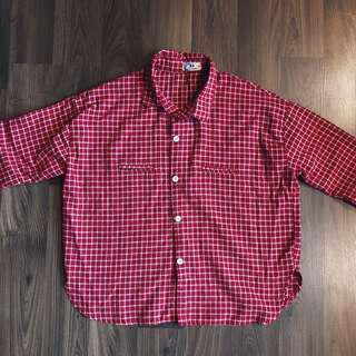 Red & White Checkered Top (Long Sleeved)