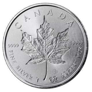 加拿大2018年1盎司99.99%银枫木硬币