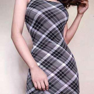 Plaid Fitted Dress
