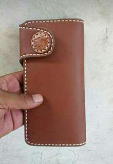 Dompet kulit Handmade brown volcadot HG. 011