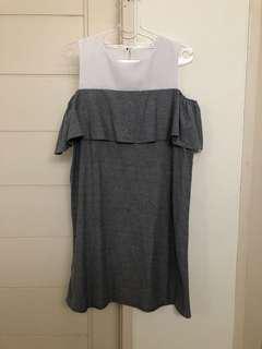 Off shoulder dress putih abu