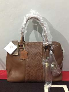 Giani Bernini Brown Pebbled Leather Satchel Handbag original