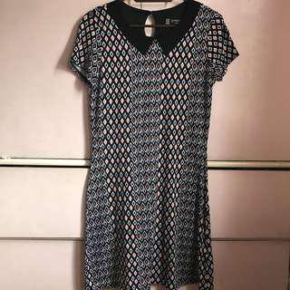 Aztec cotton collared dress