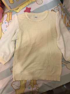 日本here's 米白色針織併雪紡中袖top