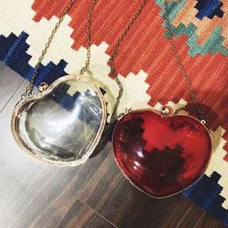 💟 壓克力透明愛心硬殼包 金鍊 可拆式 手拿包 日本帶回