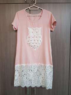 Korea Long T-shirt dress with lace
