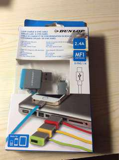 100% New MFI認證 Dunlop Lightning Cable for iPhone/iPad 2.4A