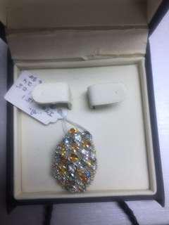 Women Men Unisex Pendant Diamond White Gold Multi Sapphire Flower Elegant 18K