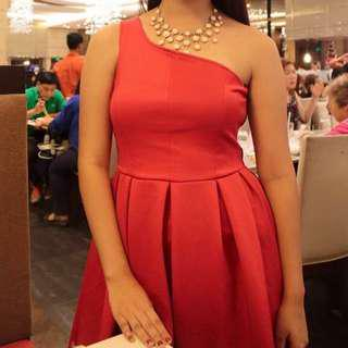 Red One sided Gown Dress