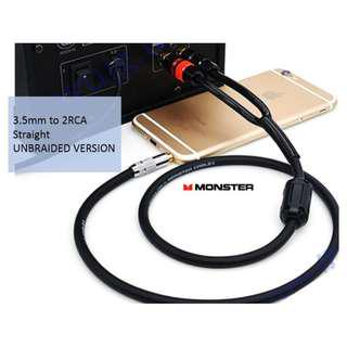 🚚 3.5mm to 2 RCA Monster 100 Cable suitable for phone to hifi