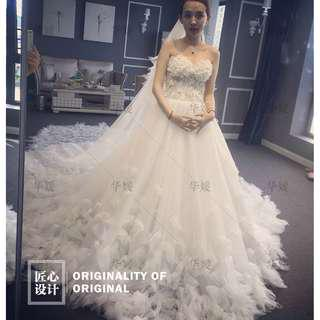 Wedding Collection - Fantasy 3D Flowers Tube Style Long Furry Tail Wedding Gown