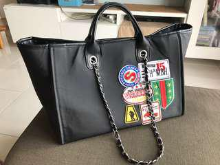Large Deauville tote with chain and handle