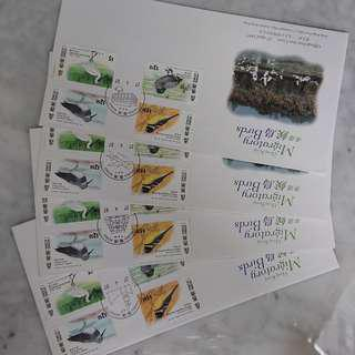 香港 1997年 香港候鳥郵票一套 8 個集郵局圖案印首日封
