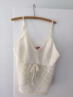 Slightly cropped crochet/knit top