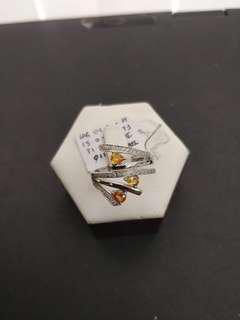 Fancy Multi Yellow Orange Sapphire White Gold Diamond