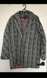 black and white oversized coat