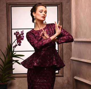 Sequin Dress Burgundy Raya Collection