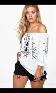 Boohoo Size 16 Off The Shoulder Top