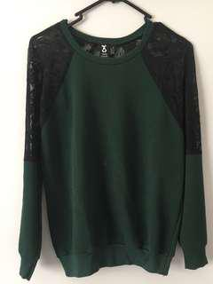 Urban Renewal Size S Forest Green Lace Sweater
