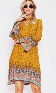 Popcherry Size S(8) Yellow Print Shift Dress