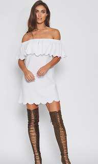 Popcherry Size S(8) White Off Shoulder Dress