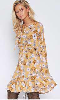 Popcherry Size M(10) Yellow Floral L/S Dress